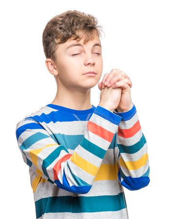 implore: Emotional portrait of teen boy Stock Photo