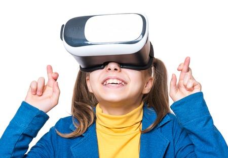 Little girl in VR glasses