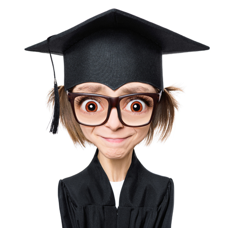 Cartoon style character with big head - portrait of a sad or surprised graduate girl student in mantle with black hat and eyeglasses, isolated on white background Stock Photo