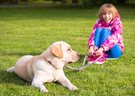 Little girl with labrador retriever on walk in park. Child sitting on green grass with dog - outdoor in nature portrait. Pet, domestic animal and people concept.