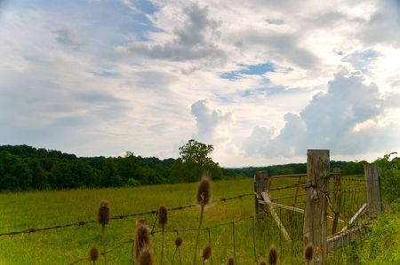 Rural landscape with storm clouds rolling in photo