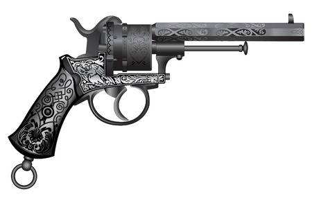 old gun with ornament