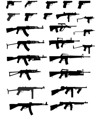 handgun: Vector silhouettes of weapons Illustration
