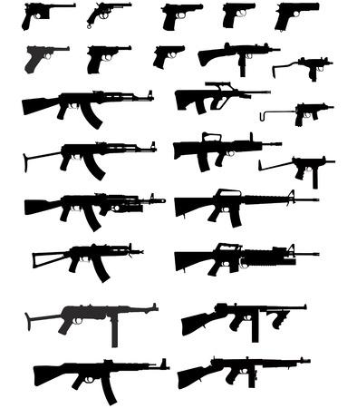 pistolas: Vector siluetas de las armas