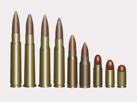 Collection of Bullets .Detailed vector illustration.Isolated on white.