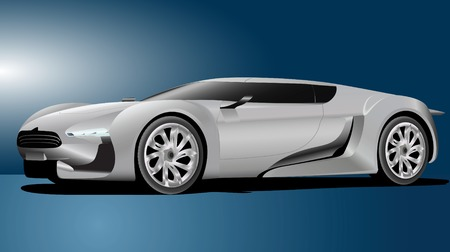 Vector illustration of white sport car isolated on blue background.