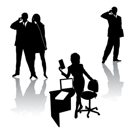 business woman phone: Business people silhouettes Illustration
