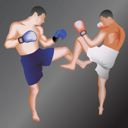 Kickboxing.Taekwondo fighters. Vector