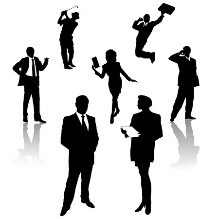 silhouette of business people Stock Vector - 5431011