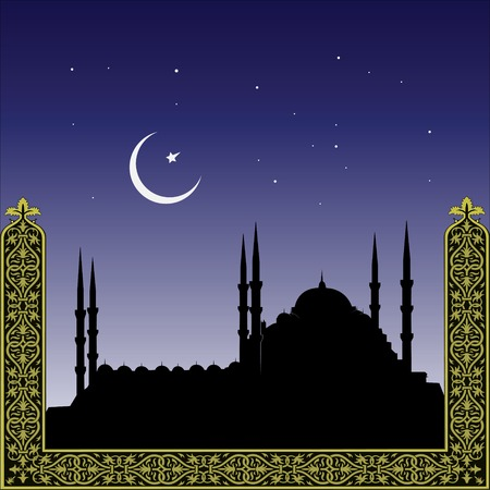 silhouette of mosques and minaretts with ornament Illustration