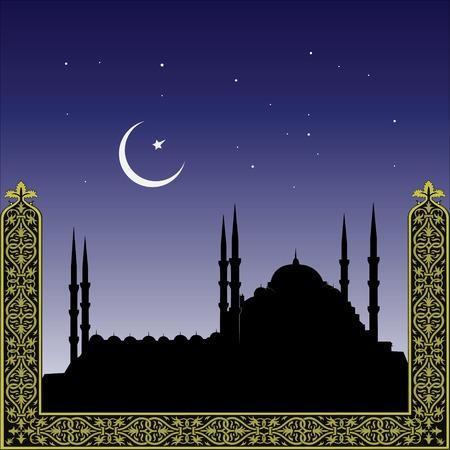 muhammad: silueta de mezquitas y minaretts con ornamento
