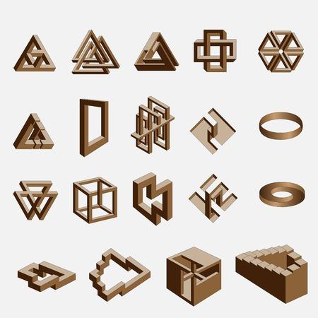 Impossible objects Vektoros illusztráció