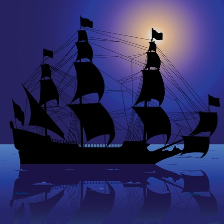 vector illustration of sailboat silhouette with reflection Stock Vector - 5654034