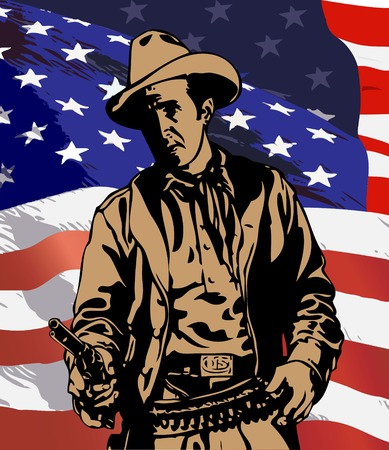cowboy on the background of the American flag Stock Vector - 6195419