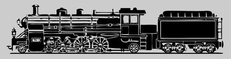 bach: alte Lokomotive Illustration