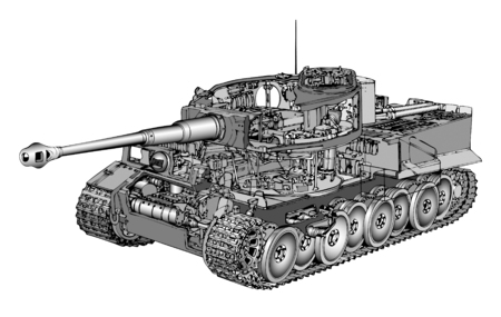 turret: Detailed vector illustration of German tank Tiger
