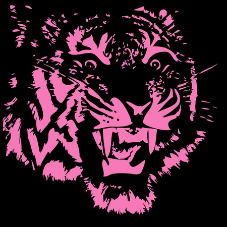 furious: Head of the furious tiger on a black background isolated. vector illustration. Illustration