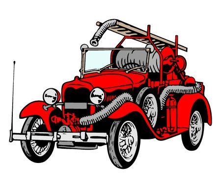camion pompier: Retro Firetruck Red  Banque d'images