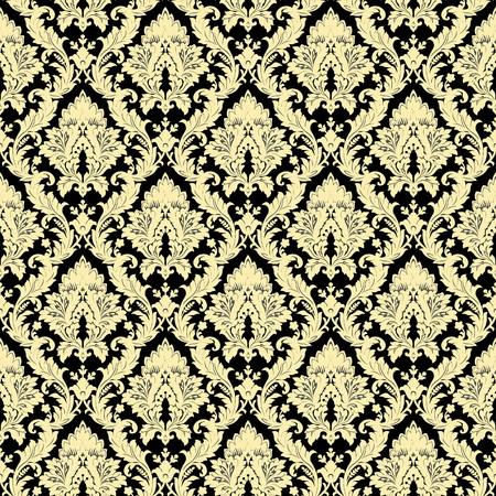 gold leafs: Seamless damask pattern