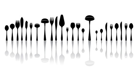 eating utensil: silverware black and white silhouettes Stock Photo