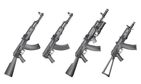 kalashnikov: machine gun isolated on the white background Stock Photo