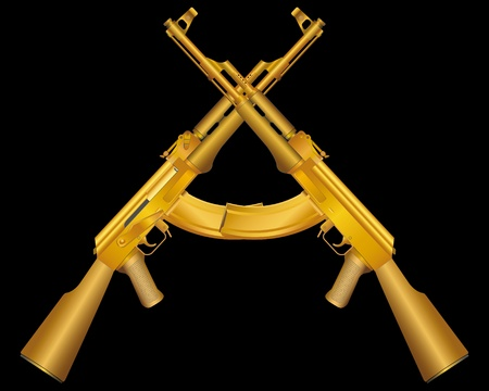gun barrel: Vector illustration of two gold ak47 Stock Photo