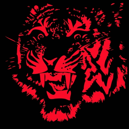 fearsome: Head Of Fearsome Tiger Illustration