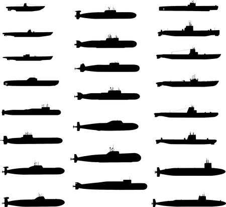 military silhouettes: Submarines