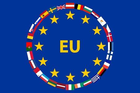 EU-Flagge mit Flaggen der Länder - die Mitglieder der Europäischen Union Standard-Bild - 27556256