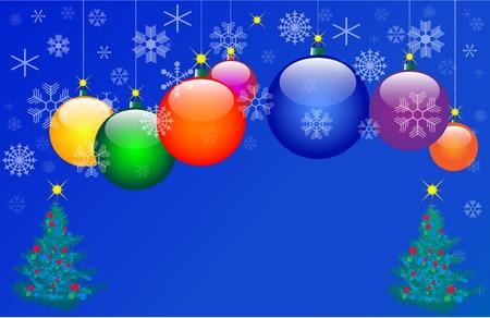 Seven Colour Christmas balls. Vector EPS10 illustration Vector