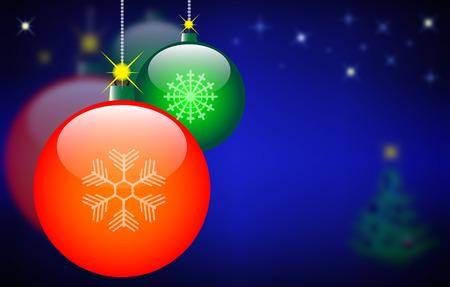 Christmas balls on the starry sky. Vector EPS10 illustration Vector