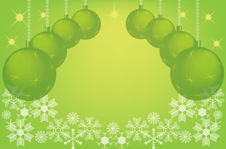 green christmas background with christmas balls. Vector EPS10 illustration Vector