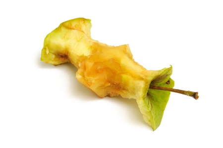 apple core on a white background photo