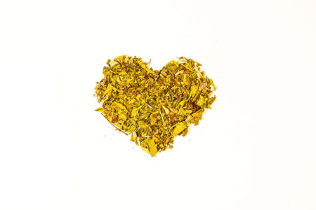 heart of dried herbs love for plants on a white background.