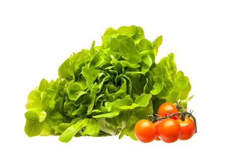 Fresh lettuce leaves and cherry tomatoes isolated on a white background. The concept of diet, vegetarian and healthy eating. Close-up.