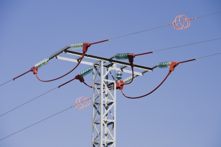 Insulators placed in electrical cables to avoid the electrocution of the birds photo