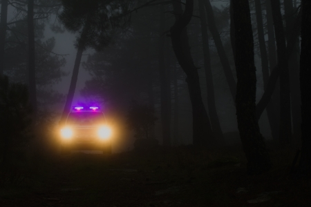 police icon: ranger car patrolling the forests of the Community of Madrid