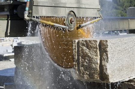granite: granite sawing machine in a factory from a quarry