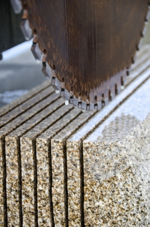 quarries: detail of a circular saw used to cut granite Stock Photo