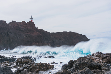 locality: big waves in the locality of Punta Teno, Tenerife, Spain Stock Photo