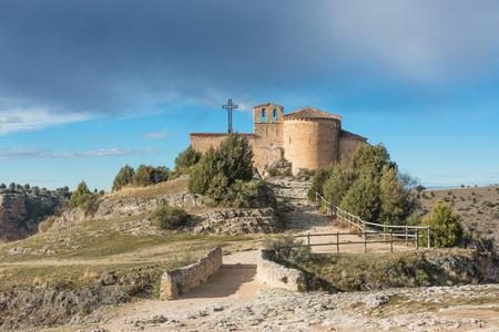 view of the main facade of the church of San Frutos Segovia