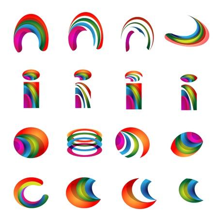 Vector alphabet vibrant logo Designs version 2 Stock Vector - 20395190