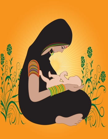 Illustration of an Indian Hindu Mother with kid Çizim