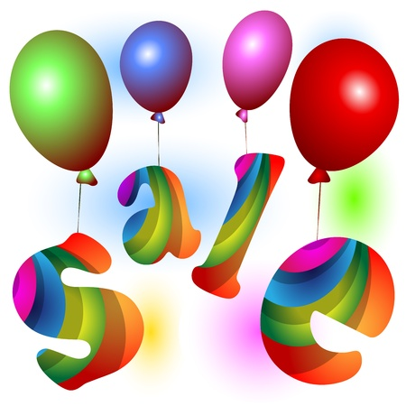 Word Sale with balloons