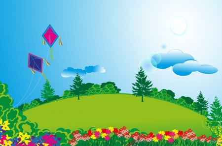 This vector illustration shows row apartments in a beautiful long green fields with colorful flowers, plants and trees around, also shown a bright sunny day with a shiny sun  This also shows kites flying, used for real estate  Imagens