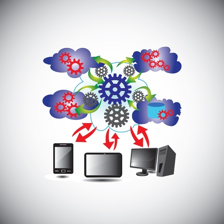 Cloud Computing Network - This vector illustration describes the way how Cloud Computing network connects various systems  Vector