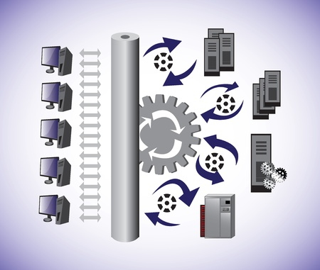 벡터 컴퓨터 용량 계획 아키텍처의 Illustartion 및 방법을 보여줍니다 컴퓨터 네트워크 아키텍처를 공유하는 정보