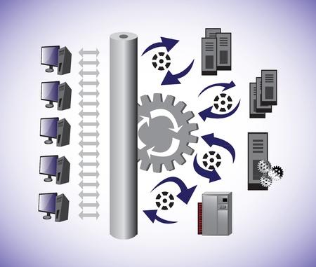 Vector Illustartion van een computer Capaciteitsplanning Architectuur en laat zien hoe het delen van informatie Computer Network architectuur Stock Illustratie
