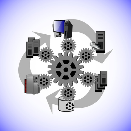 ce: Ce vecteur montre comment une technologie distribu?e de middleware se connecte, diverses applications d'entreprise existants et en topologie diff?rente de r?seau comme le point-?-point, ?treinte et a parl?, Enterprise Service Bus dans l'int?gration moderne Illustration