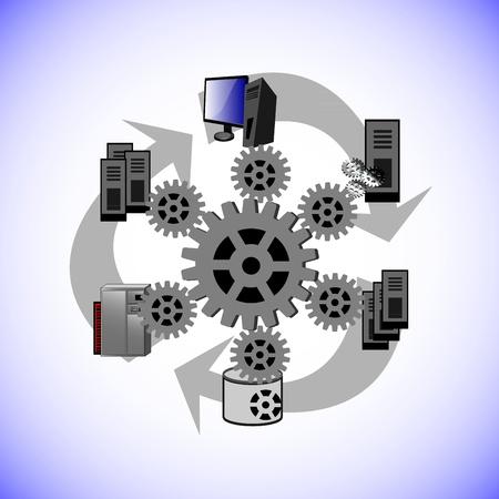 Este vector ilustra c?una tecnolog?middleware distribuido conecta, varios legacy y aplicaciones empresariales en la topolog?de red diferente como punto-a-punto, un abrazo y dijo, Enterprise Service Bus en la integraci?oderna